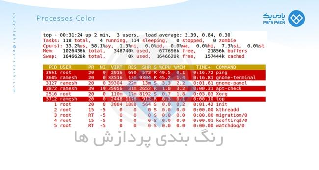 رنگ بندی پردازش ها در سرور لینوکسی