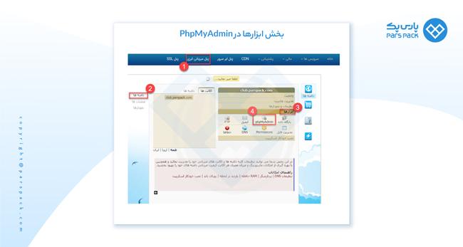 ابزار ها در phpmyadmin