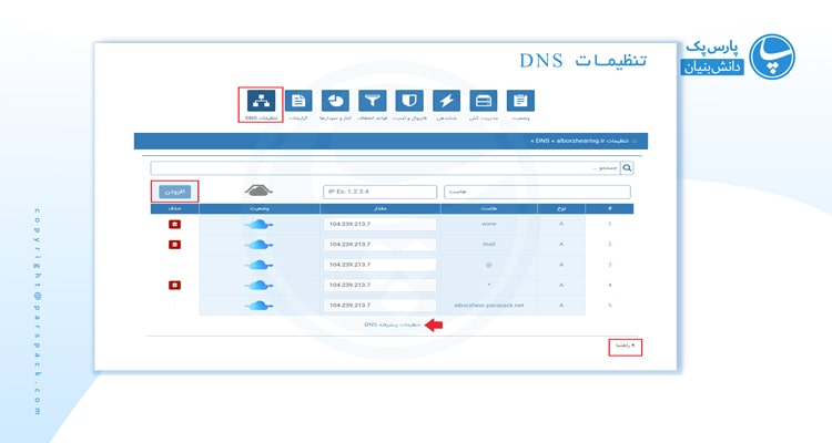 تنظیمات DNS