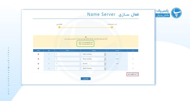 فعال سازی name server