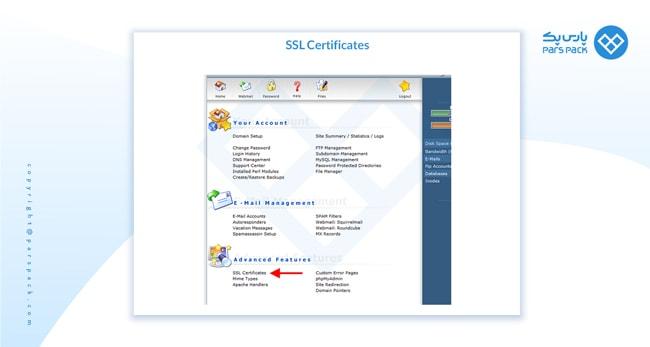 SSL Certificate دایرکت ادمین