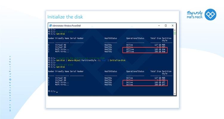 دستور مدیریت دیسک Initialize the disk
