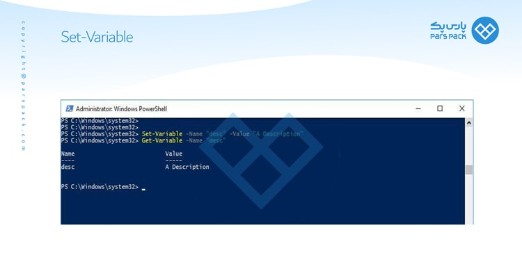 دستور Set-Variable در powershell
