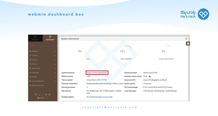 webmin dashboard box