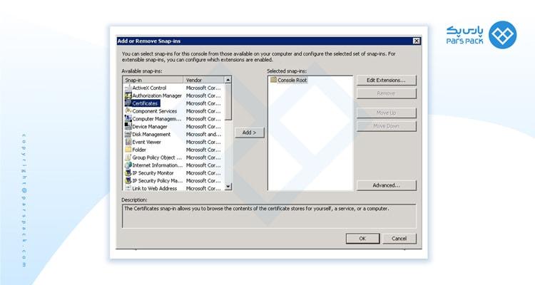 نحوه Add کردن certificate در snap in