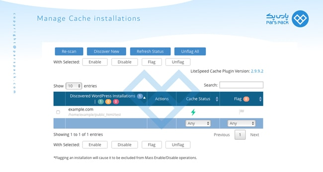تنظیمات cache در لایت اسپید